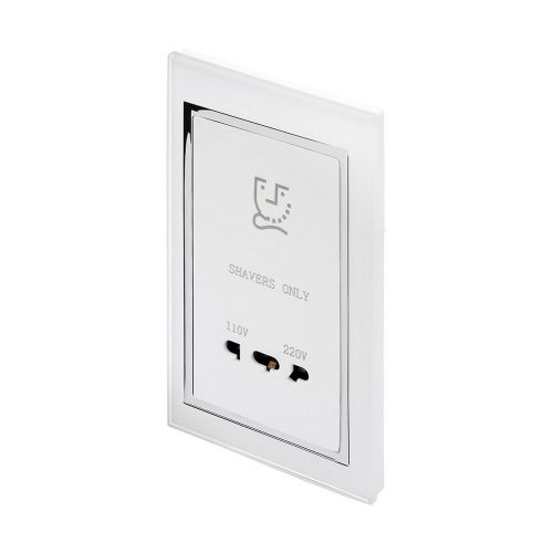 RetroTouch Dual Voltage Shaver Socket White Glass CT 00285